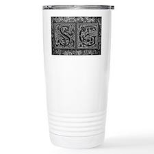 SG initials. Vintage, Floral Travel Mug