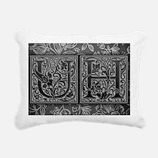 UH initials. Vintage, Fl Rectangular Canvas Pillow