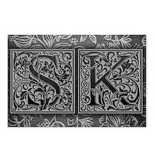 SK initials. Vintage, Flo Postcards (Package of 8)