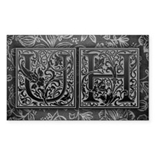 UH initials. Vintage, Floral Decal