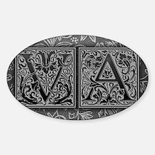 VA initials. Vintage, Floral Decal