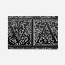 VA initials. Vintage, Floral Rectangle Magnet