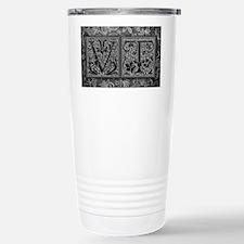 VT initials. Vintage, Floral Travel Mug