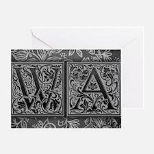 WA initials. Vintage, Floral Greeting Card