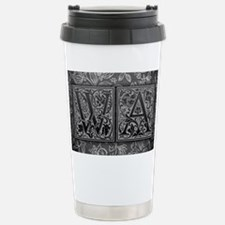 WA initials. Vintage, Floral Travel Mug