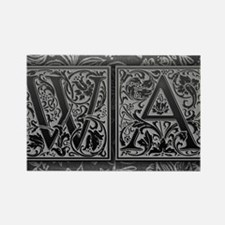 WA initials. Vintage, Floral Rectangle Magnet
