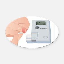 Blood glucose test, artwork Oval Car Magnet
