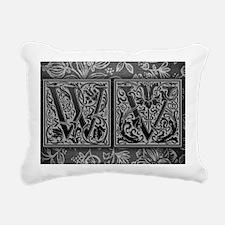 WV initials. Vintage, Fl Rectangular Canvas Pillow