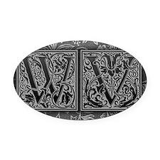 WV initials. Vintage, Floral Oval Car Magnet