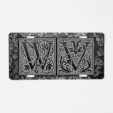 WV initials. Vintage, Flora Aluminum License Plate