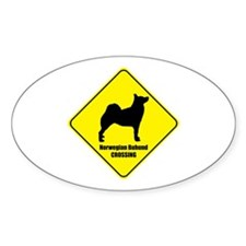 Buhund Crossing Oval Decal