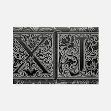 XJ initials. Vintage, Floral Rectangle Magnet