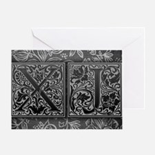 XJ initials. Vintage, Floral Greeting Card