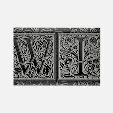 WI initials. Vintage, Floral Rectangle Magnet