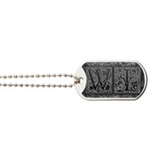 WI initials. Vintage, Floral Dog Tags