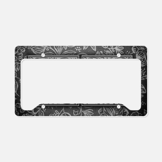 WI initials. Vintage, Floral License Plate Holder