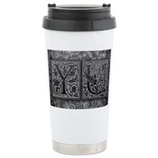 YU initials. Vintage, Floral Ceramic Travel Mug