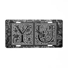YU initials. Vintage, Flora Aluminum License Plate