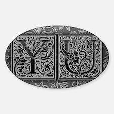 YU initials. Vintage, Floral Decal