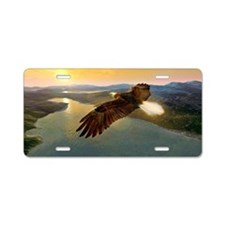 Bald eagle in flight, artwo Aluminum License Plate