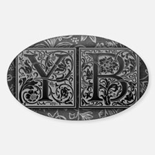 YB initials. Vintage, Floral Decal