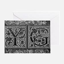 YG initials. Vintage, Floral Greeting Card