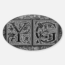 YG initials. Vintage, Floral Decal