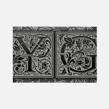 YG initials. Vintage, Floral Rectangle Magnet