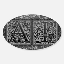 AI initials. Vintage, Floral Sticker (Oval)