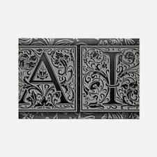 AI initials. Vintage, Floral Rectangle Magnet