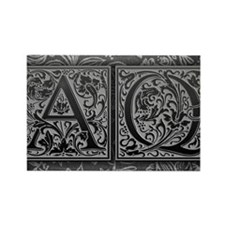 AQ initials. Vintage, Floral Rectangle Magnet