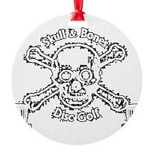 Skull and Bones Disc Golf White Ornament