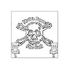 "Skull and Bones Disc Golf W Square Sticker 3"" x 3"""