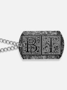 BI initials. Vintage, Floral Dog Tags