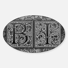 BI initials. Vintage, Floral Decal
