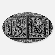 BM initials. Vintage, Floral Decal