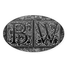 BW initials. Vintage, Floral Decal