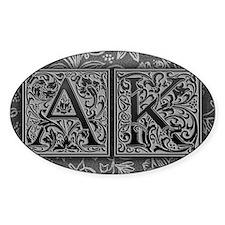 AK initials. Vintage, Floral Decal
