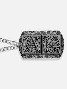 AK initials. Vintage, Floral Dog Tags