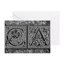CA initials. Vintage, Floral Greeting Card