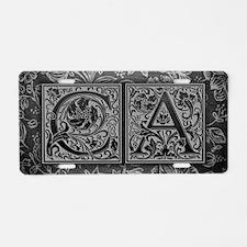 CA initials. Vintage, Flora Aluminum License Plate