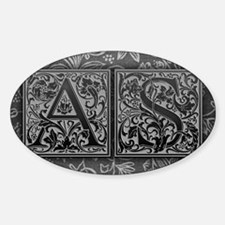AS initials. Vintage, Floral Sticker (Oval)