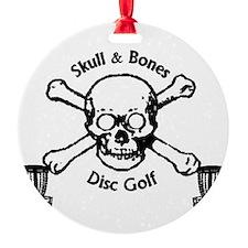 Skull and bones black lettering Ornament