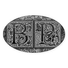 BP initials. Vintage, Floral Decal