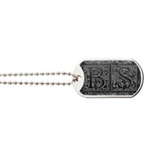 BS initials. Vintage, Floral Dog Tags