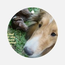 The Dark Side of Shelties Round Ornament