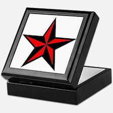 Punk Rock Red Nauticle Star Keepsake Box