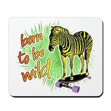 Zebra skateboarding Mousepad