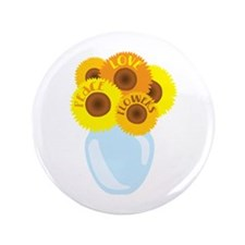 "Peace Love Flowers 3.5"" Button"