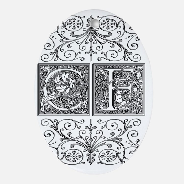 CF, initials, Oval Ornament